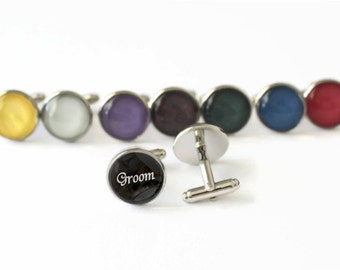 Groom Cufflink Wedding Accessory for Grooms Handmade Cuff Links Timeless Keepsake Gift for Him Pick Your Color Cool Cuff Link for Grooms