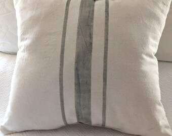 Upcycled Grainsack Euro Pillow SHAM - Choose your colors - Farmhouse Pillow - French Provincial Style - French Country Decor - Fixer Upper