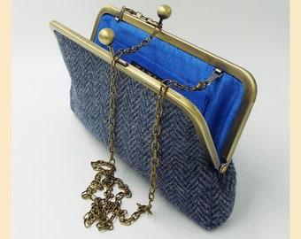 Harris Tweed shoulder bag, clutch bag in black and grey herringbone, tweed clutch purse, Harris Tweed bag, personalised tweed handbag