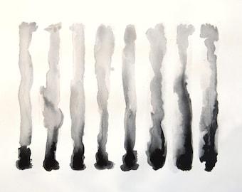 Vertical Line Art : Bold abstract vertical line black white wall art