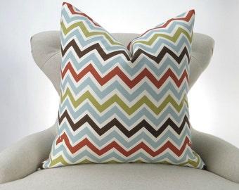 Blue Brown Chevron Pillow Cover -MANY SIZES- orange green Zigzag Zoom zoom Village decorative throw euro sham cushion contemporary 28 22 18