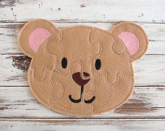 Bear Felt Puzzle - Preschool Kids, Educational Toy, Easy Puzzles, Handmade Toy