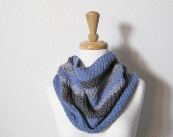 Soft Grey, Gunmetal, and Periwinkle Blue Hand Knit Cowl Scarf / Capelet - Boho, Futurist