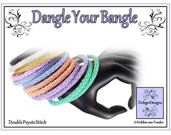 Beading Pattern, Tutorial, (Double Peyote), Bangle - DANGLE YOUR BANGLE