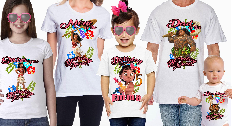 Luau Moana Birthday family t shirts with free personalization