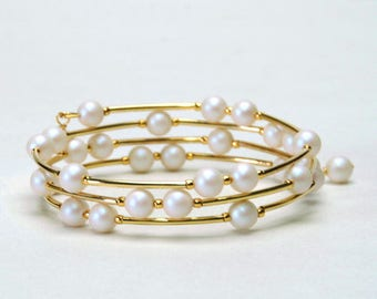 Satin White Pearl Memory Wire Bracelet - White and Gold Beaded Bracelet - Crystal Pearl Wedding Jewelry