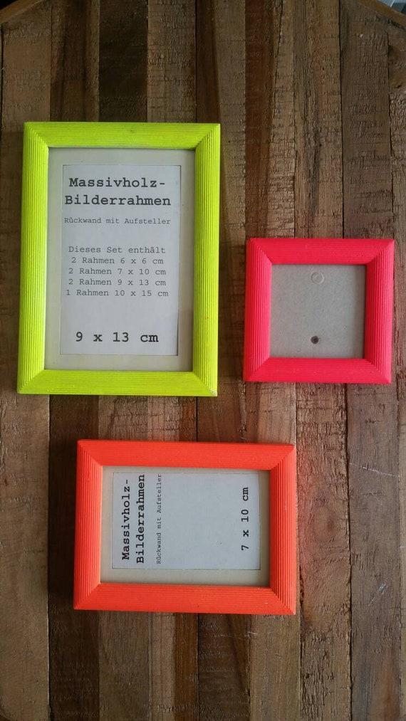 3 er Set Holz Bilderrahmen Neon gelb pink orange