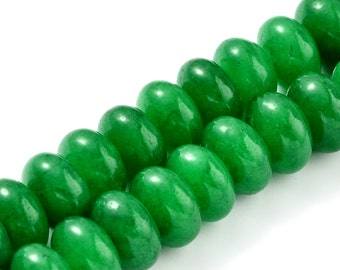 20 Jade Beads 8mm x 5mm Abacus Natural Dyed Malay Jade Beads - BD1083
