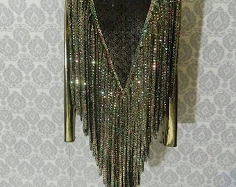 Black and gold fringe leotard Drag Queen Costume
