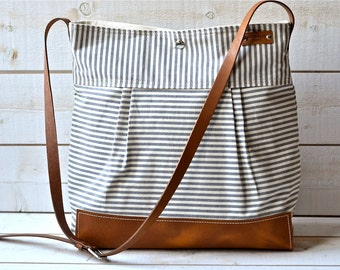 BEST SELLER  Messenger bag / Diaper bag Stockholm Gray  geometric nautical striped  Leather / Ikabags Featured on The Martha Stewart F1