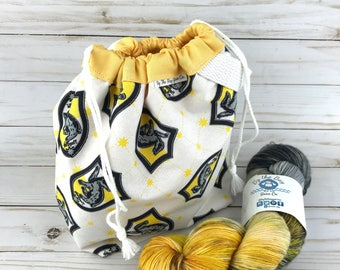 LIMITED EDITION Harry Potter Hufflepuff Project Bag for Knitting Crochet Drawstring Sock Bag Hand Dyed Yarn  #maddybag