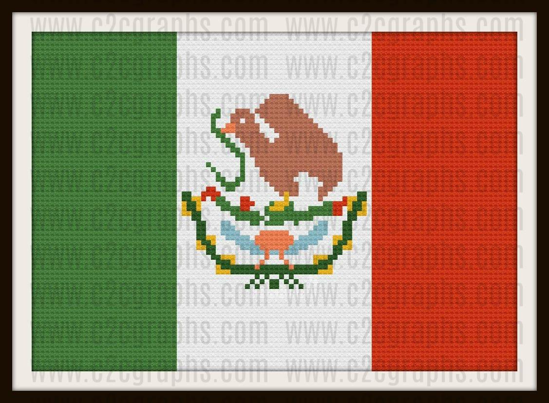 Mexico Flag, C2C Graph, Mexico Flag Crochet Pattern, Mexico Flag ...