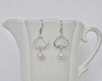 Sterling silver lotus earring with white freshwater pearl drop