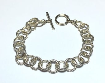 Incredible .925 Sterling Silver Round Link Hoop Chain Style Bracelet - FREE S&H