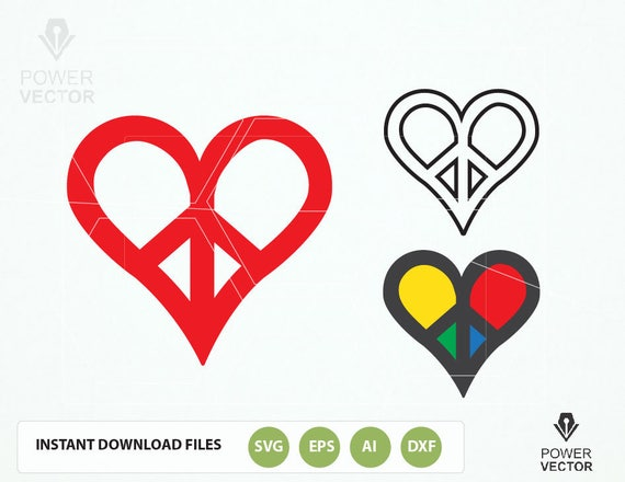 peace love symbol svg love peace symbol love peace dxf heart rh etsystudio com Hearts and Peace Signs Colorful Peace Signs