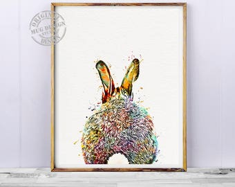 Bunny Print, Bunny Tail, Rabbit Print, Watercolor Painting, Nursery Wall Art, Rabbit Tail, Nursery Decor, Baby Bunny Print, Woodlands Animal