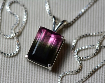 Watermelon Tourmaline Necklace, 3.59 Carat Bicolor Tourmaline Pendant, Sterling Silver, Certified Natural Real Genuine October Birthstone