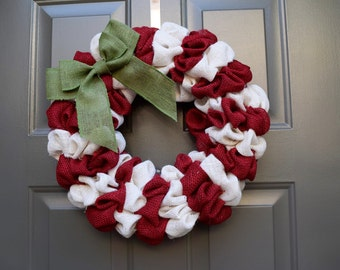 Candy cane wreath, red and white christmas wreath, christmas wreath, burlap christmas wreath, rustic christmas wreath, christmas door wreath
