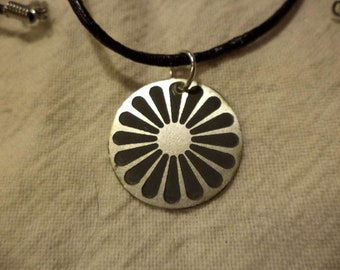 Romani Wheel Small Etched Nickel Silver Pendant