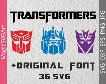 Transformers svg, Transformers logo, Transformers original font, Cutting, Template SVG, EPS, Silhouette, Cricut, Vector, Commercial use ok