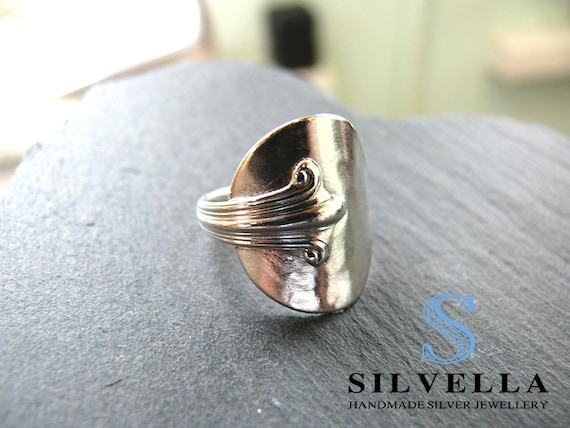 Sterling Silver Spoon Ring - Antique Spoon Ring - Silver Rings - Gift - Handmade in Wales - Hallmarked
