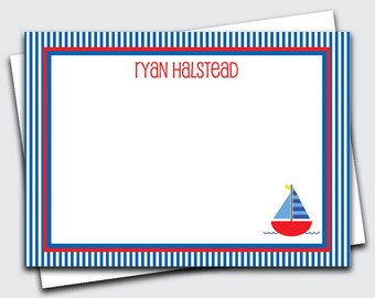 Personalized Kids Note Cards / Sailboat Notecards / Boat Stationary for Kids / Transportation Stationery Set / Thank You Notes (1702-033FL)