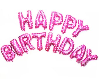 Pink 16 inch Foil HAPPY BIRTHDAY Balloons - Jumbo Alphabet Letter Balloon - Pink with White Hearts