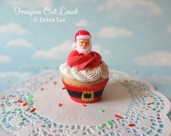 Fake Cupcake Realistic Christmas Holiday SANTA head  Faux
