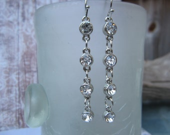 Long rhinestone dangle earrings