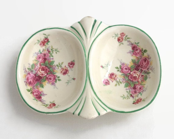 Vintage double trinket dish with pink roses, ring dish, soap dish, condiments dish etc, Woods Ivory Ware, England, 1930s / 1940s