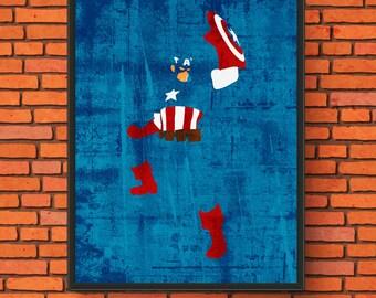 Minimalism Art - Captain America Print