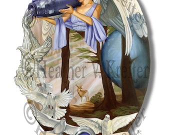 Cassiel ~ Angel of Aquarius Water zodiac 11 x 14 Matte Print Signed doves celestial