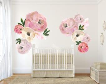 Captivating Girl Nursery Decor, Nursery Wall Art, Floral Decals, Peony Nursery, Kids  Wall