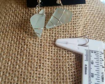 Aqua sea glass earrings