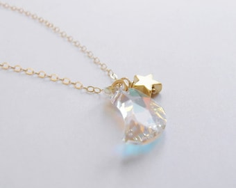 One magical night (necklace) - Small Swarovski crystal moon, tiny gold plated star, dainty 14k Gold Filled chain