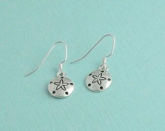 Silver sand dollar earrings, dangle earrings, sand dollar earrings