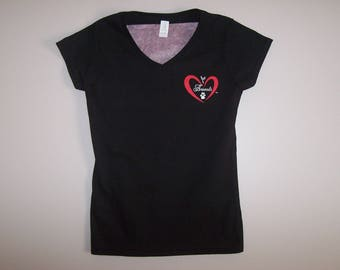 Heart of Love for Animals - Ladies V-Neck Short Sleeve - Size XL