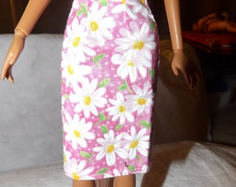 Fashion Doll Coordinates - Pink and white Daisy floral a-line skirt - es328