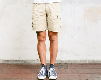 Men Cargo Shorts . 90s Mens Short Pants Resort Wear Beige Chino Shorts Summer Shorts Casual Bottoms Everyday Clothing . size Small S