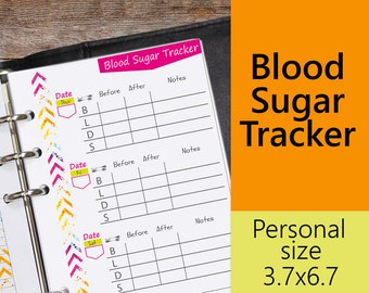 "Blood Sugar Tracker, Blood Sugar Log Printable, Personal Planner Inserts, Size 3.7""x6.7"""
