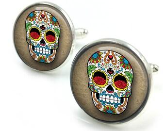 Sugar Skull Cufflinks, day of the dead, dia de los muertos, skull, cuff links  2