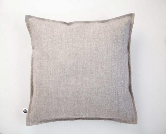 Linen throw pillow -  pillow cover - pillowcase - decorative pillow from natural linen - pillow with edging around - cushion case -  0418