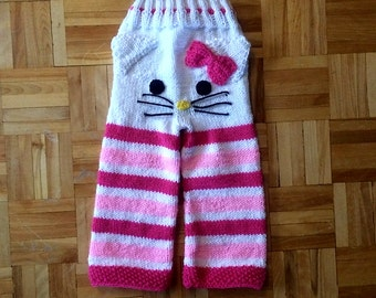 Handmade Knitted Inspired Hello Kitty Pants Made to Order - any color and size