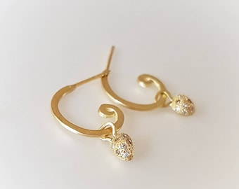 Hoops in 18k Solid Gold with Little Diamond Seeds . Gold Hoop Earrings . Hoops and Drops  .Diamond Earrings .Diamond Hoops .Hoops and Charms