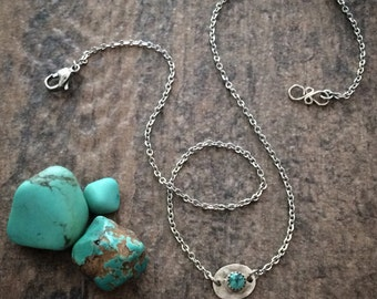 Dainty Sterling Silver and Genuine Turquoise Necklace Pendant - Simple BOHO Layering Necklace - Unique Jewelry Gifts for Her