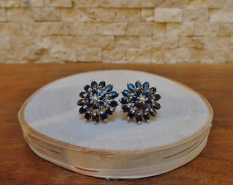 Natural Blue Sapphire cluster posted earrings in Sterling Silver with omega backs