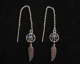 Dreamcatcher with blue or black bead sterling silver threaders thread earrings