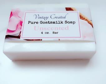New! Unscented ~Pure Goatsmilk Soap ~4 oz. Bar~Moisturizing Soap~Sensitive Skin Soap~Handmade Soap Bars~Soothing Skin Soap~Fragrance Free