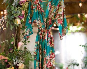 Floral Cotton Bridal Robes, Kimono Wrap, Bridesmaid Robe, Blue Robe, Flower Girl Robes, Custom Robes, Beach Robe, Summer Dress, Party Robe