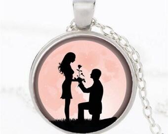 """""""Les amoureux"""" glass cabochon necklace"""